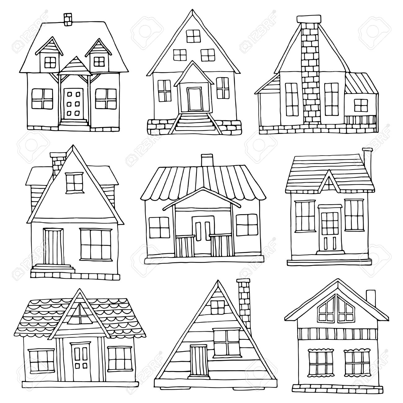 1300x1300 House Set. Hand Drawn Cute Cabins Collection Royalty Free Cliparts