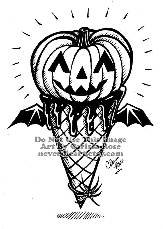 570x798 Original Drawing Inktober Ooak Spooky Cute Halloween Ice