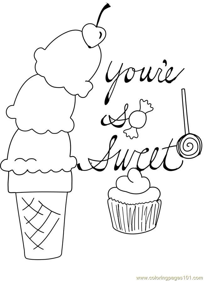 650x894 Free Printable Coloring Image Candy Cupcake Ice Cream Cone Cherry
