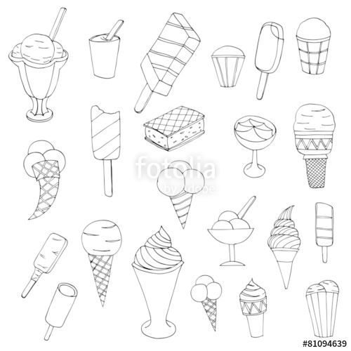 500x500 Collection Of Cute Vector Hand Drawn Cartoon Ice Cream. Cones
