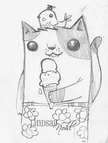 377x500 Drawings Of Cute Things Cute Kitty With Cute Ice Creamnd