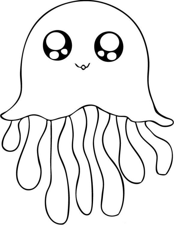 580x748 Cute Jellyfish Coloring Pages