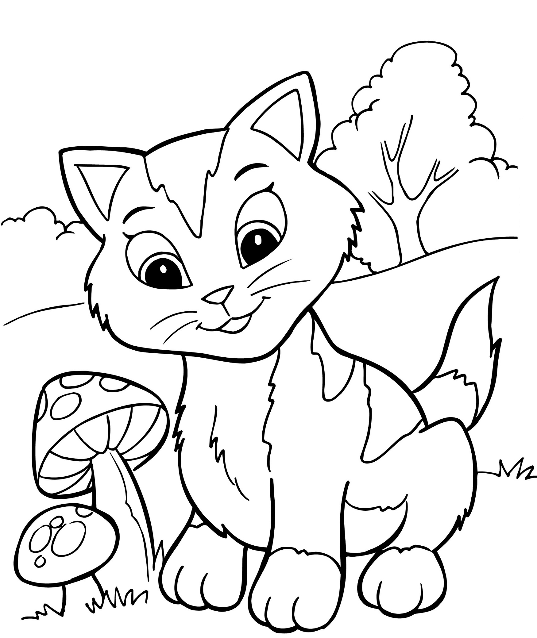 1750x2080 Now Cute Kitten Coloring Pages Free Printable For Kids Best