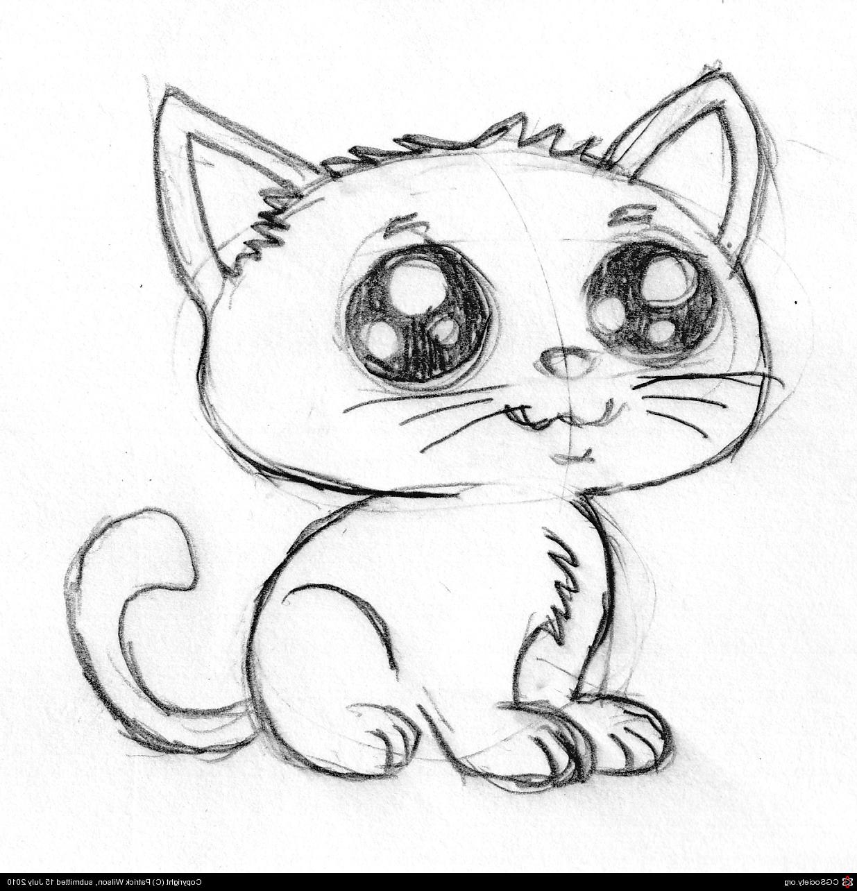 1235x1284 Cute Cartoon Kitten Pencil Sketch By Patrick Wilson 2d