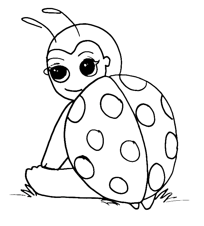 670x740 Cute Ladybug Coloring Pages