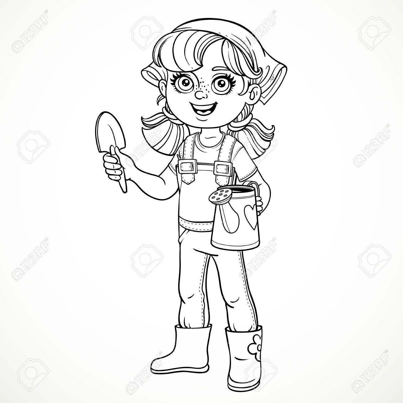 1300x1299 Cute Little Girl In Jeans Overallsnd Rubber Boots Holding
