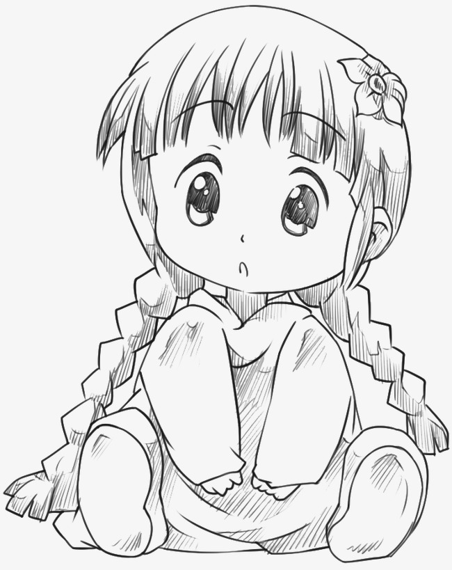 650x819 Cute Little Girl, Pencil Drawing, Line Drawings, Archetypes Png