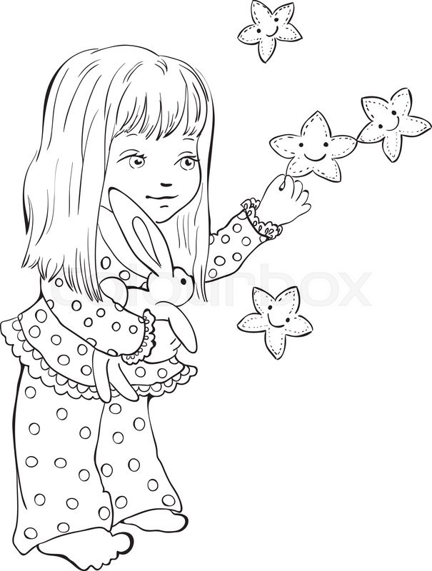 605x800 Cute Little Girl With Funny Stars. Digital Stamp. Vector Drawing