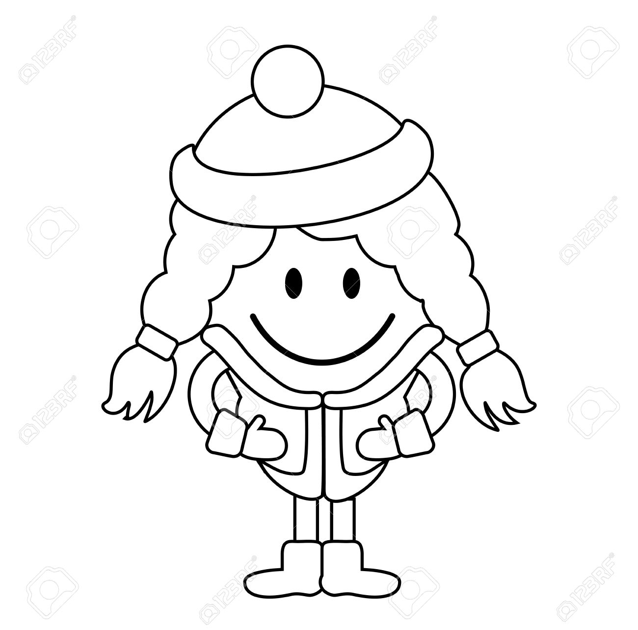1300x1284 Simple Drawing Of Little Girl Cute Little Girl In Winter Clothes