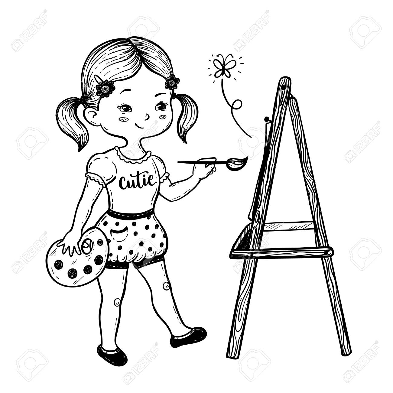 1300x1300 Vector Illustration Of A Cute Little Girl Drawing Behind An Easel