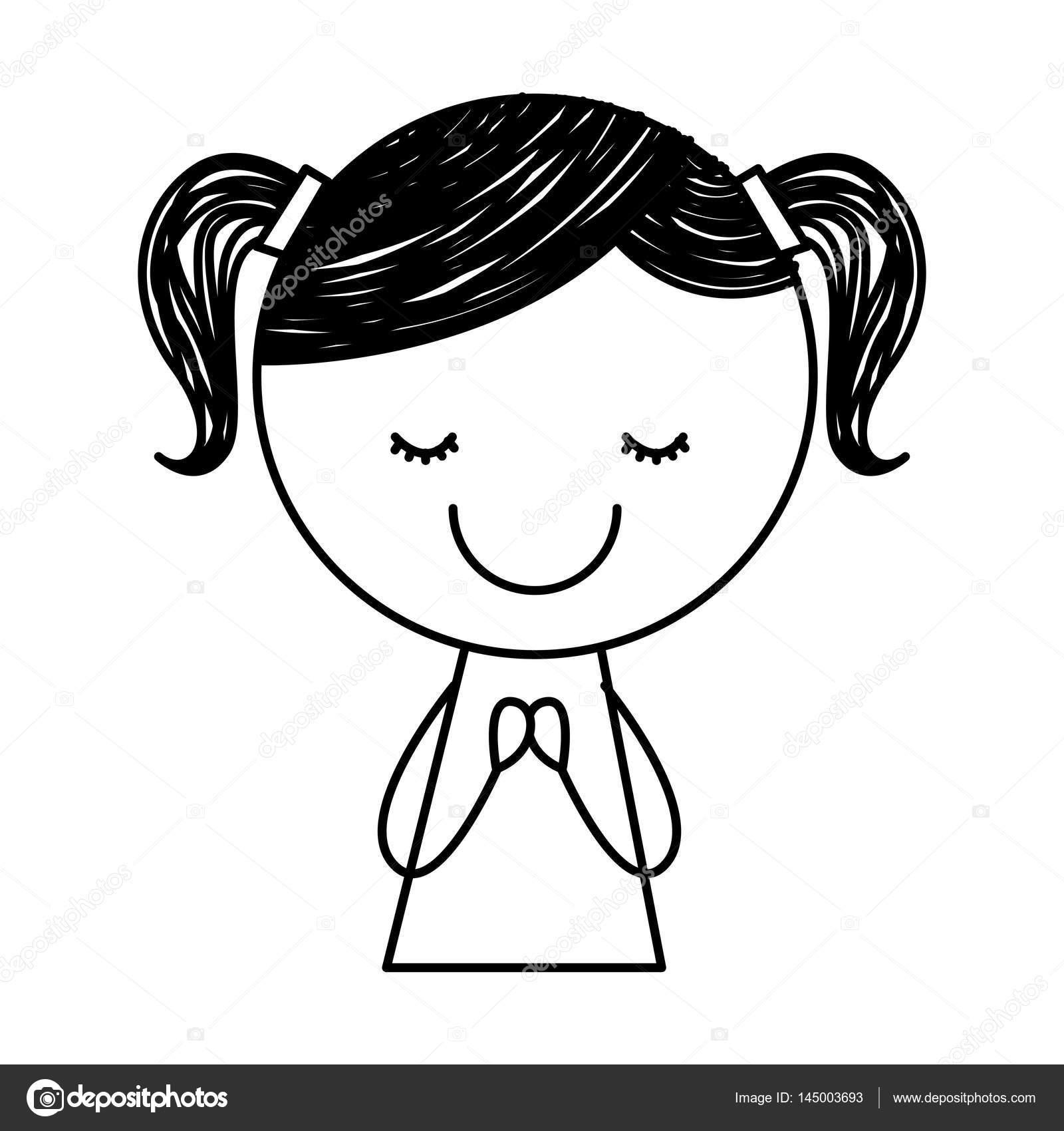 1600x1700 Cute Little Girl Drawing Character Stock Vector Yupiramos