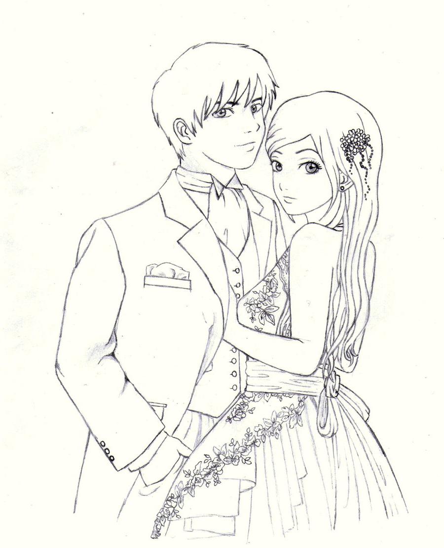900x1111 Cute Animated Little Girl Pencil Sketch Cartoon Love Couple