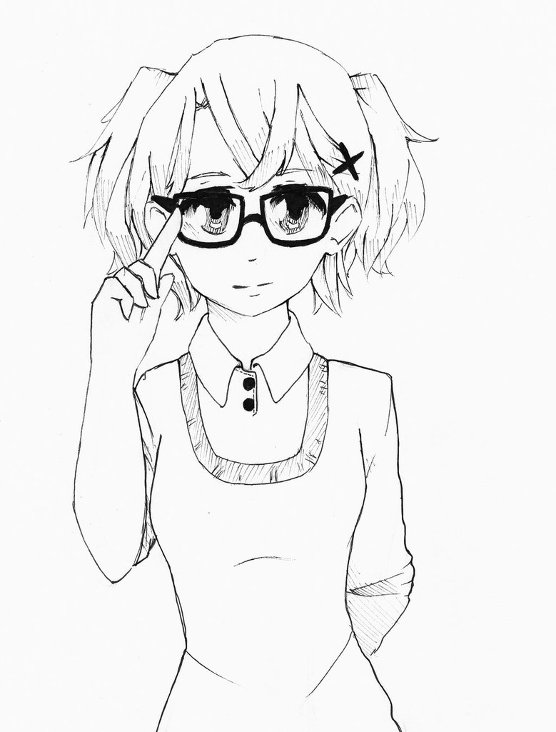 779x1025 Cute Manga Girl With Glasses By Alkalightning
