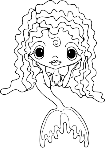 342x480 Cute Little Mermaid Coloring Page Free Printable Coloring Pages