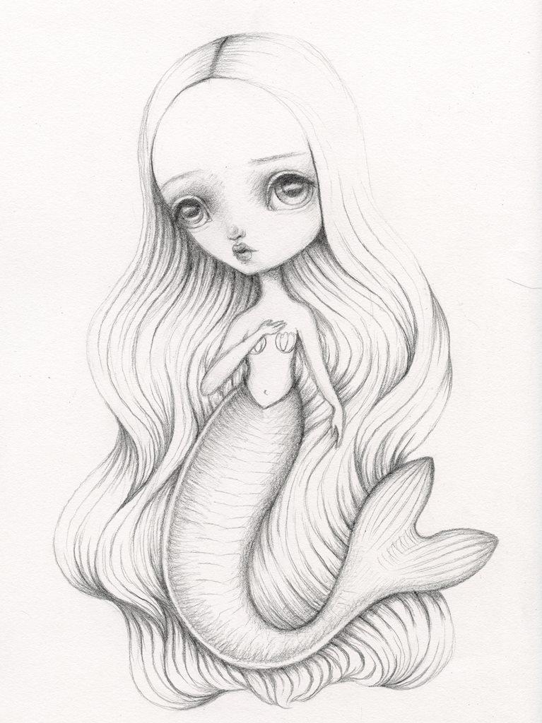 767x1024 Mermaid Drawing By Lauren Saxton (Fair Rosamund Art). My Artwork