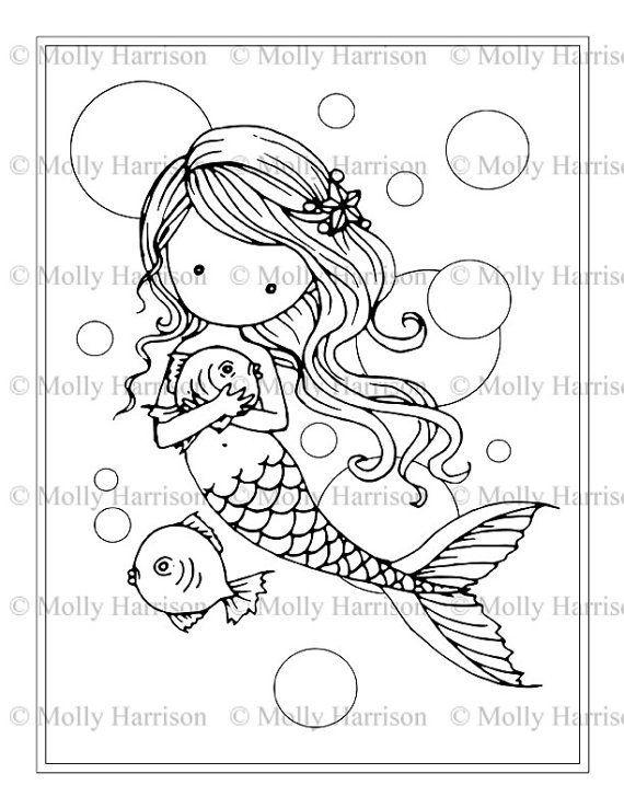 570x738 Mermaid Wit Fish And Bubbles