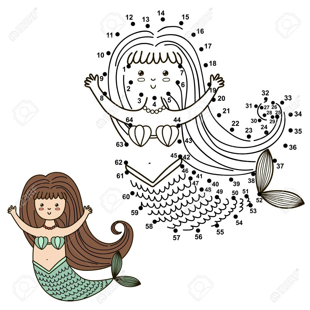 1300x1300 Connect The Dots To Draw The Cute Mermaid And Color It. Royalty