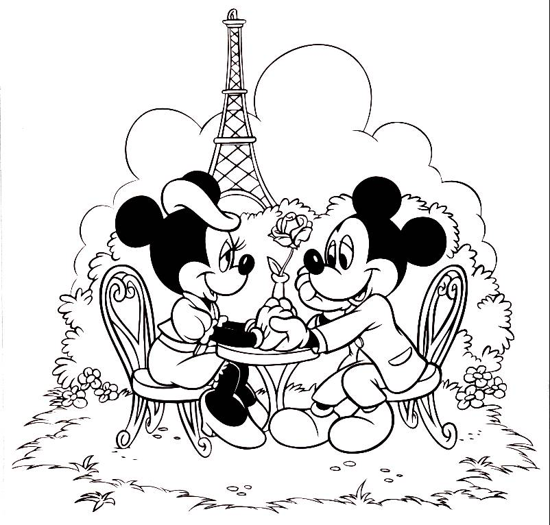 802x766 Mickey Minnie Mouse Coloring Pages In Paris On Disney