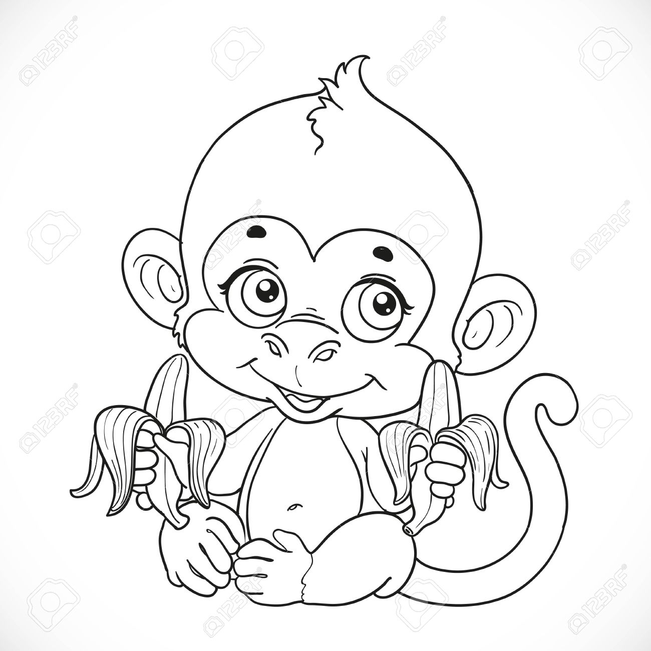 1300x1300 Cute Baby Monkey Drawings Cute Baby Monkey With Banana Outlined