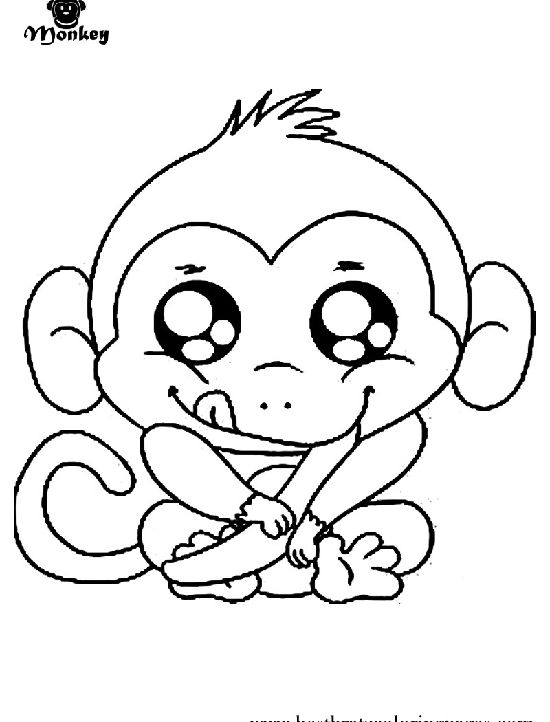 800x1050 Coloring Pictures Of Cute Monkeys Copy Free Cartoon Monkey