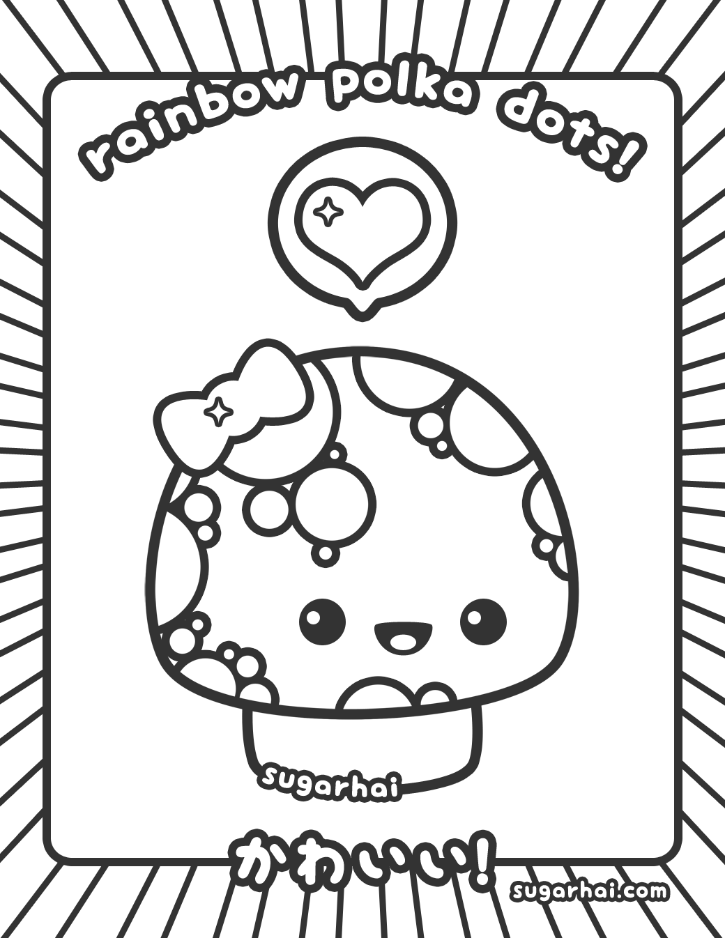1040x1346 Cute Polka Dotted Mushroom Coloring Page
