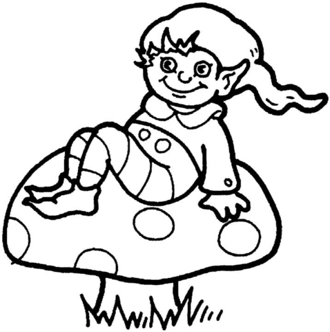 478x480 Little Elf On The Mushroom Coloring Page Free Printable Coloring