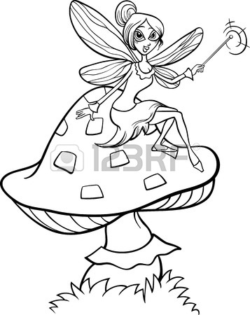 357x450 Black And White Cartoon Illustration Of Cute Elf Fairy Fantasy