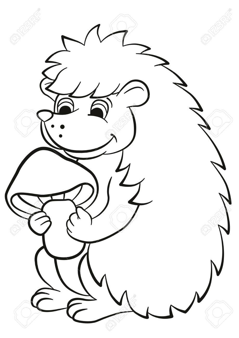 919x1300 Coloring Pages. Little Cute Hedgehog Holds Mushroom In