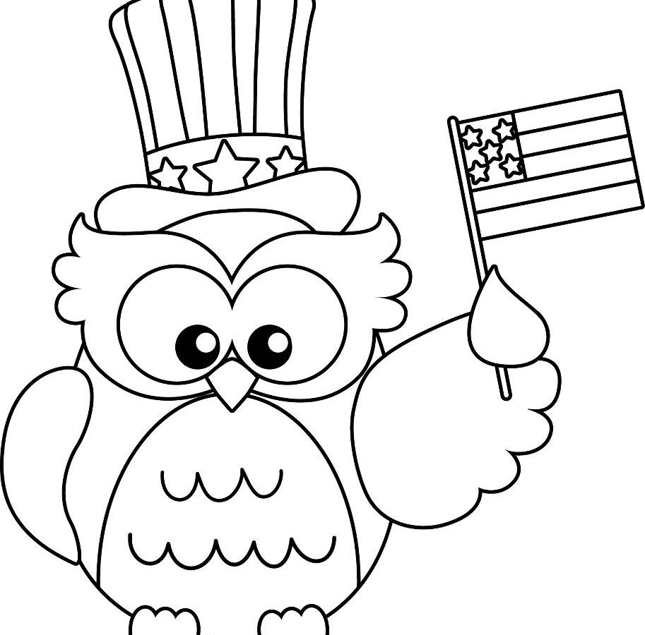 913x900 Cute Owl Coloring Pages With Uncle Sam Hat And Us Flag Free