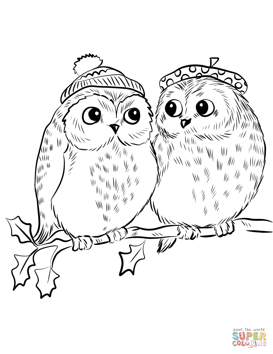 927x1200 Cute Owl Coloring Pages