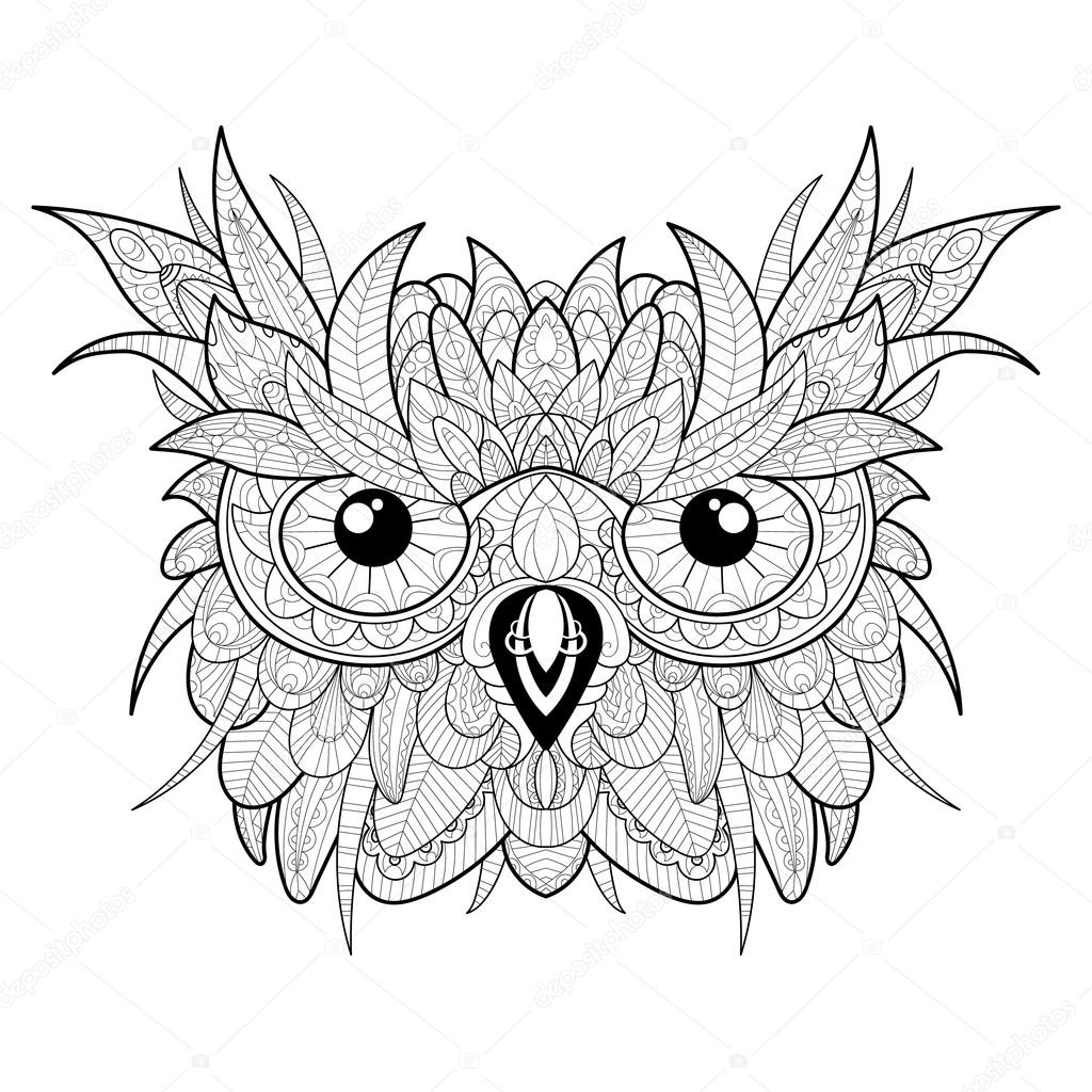 1024x1024 Hand Drawn Cute Owl Portrait For Adult Coloring Page Stock