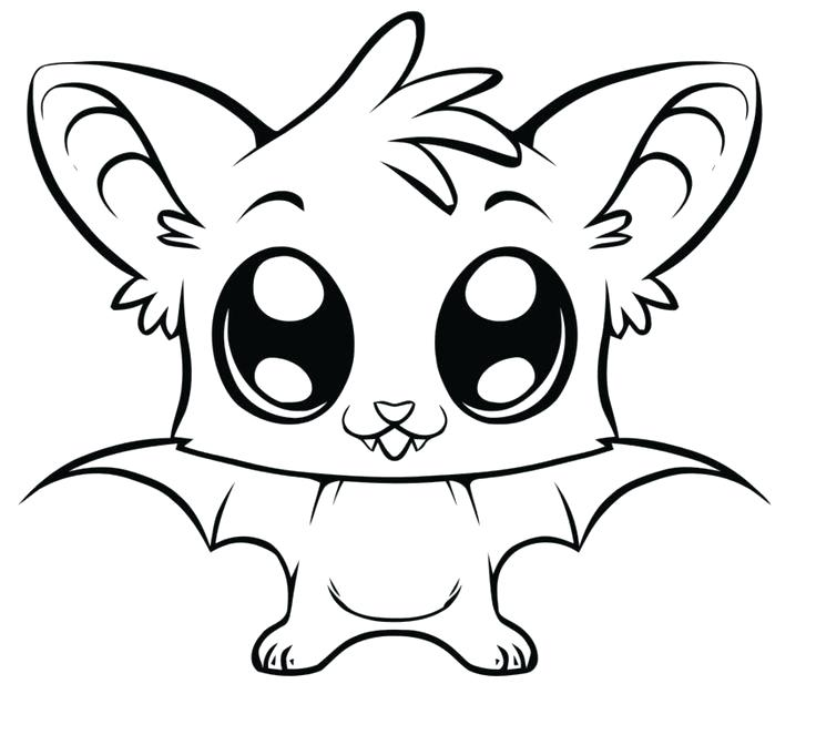 736x672 Cool Coloring Pages For Halloween Print Bat Cute Easy Big Eye Free