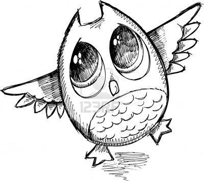400x355 Cute Sketch Doodle Owl Vector Illustration Art Illustrations