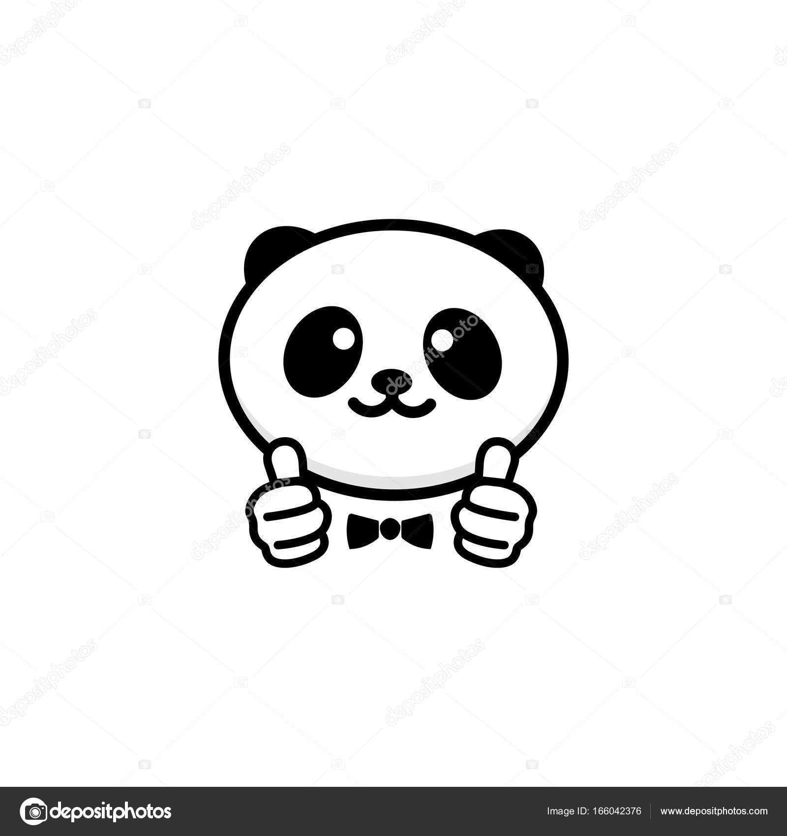 1600x1700 Ok Logo. Funny Little Cute Panda Showing Gesture With Hand