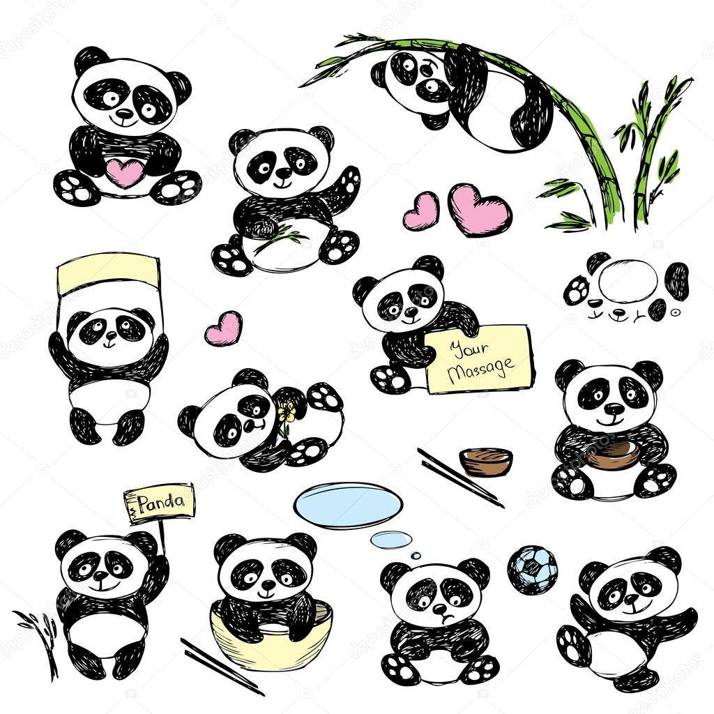 1024x1024 Set Cute Panda In Various Poses, Hand Drawing Stock Vector