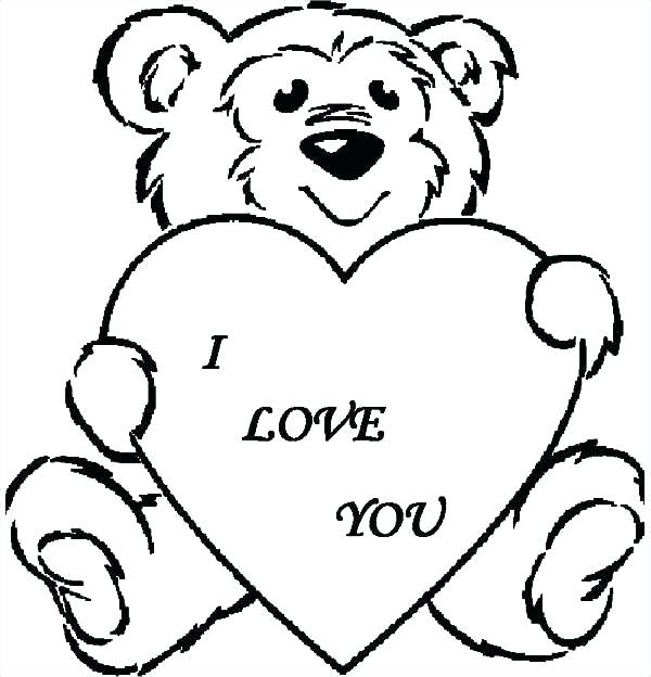 600x624 Cute Bear Coloring Pages Teddy Bear I Love You Coloring Pages Cute