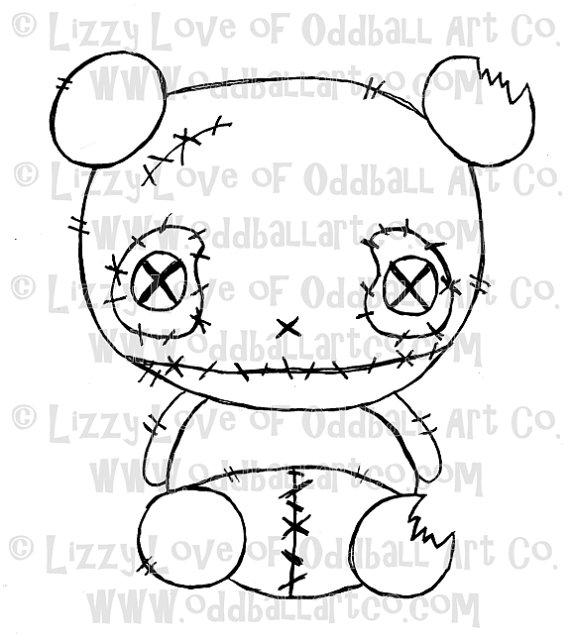 570x642 Digi Stamp Digital Instant Download Creepy Cute Zombie Panda