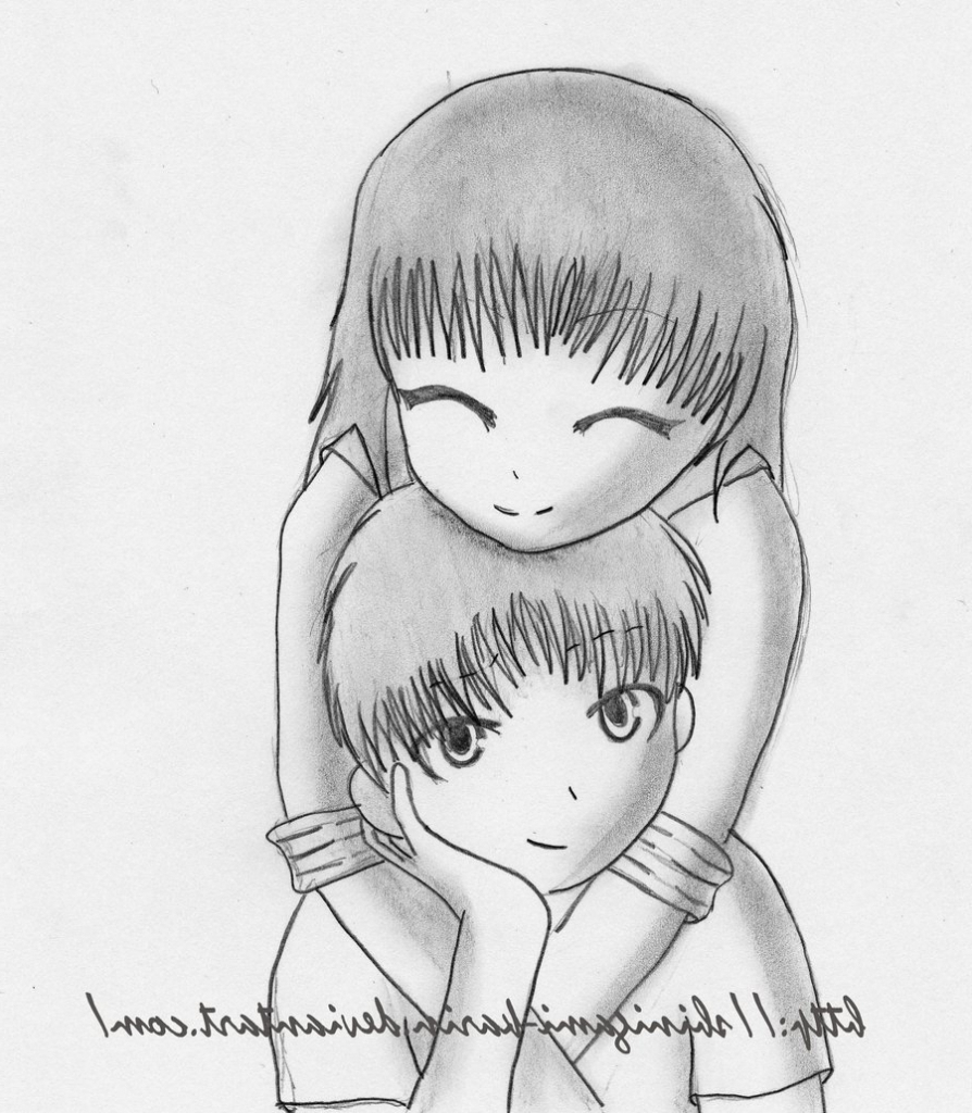 894x1024 Easy Cute Anime Drawings In Pencil Easy Anime Drawing Couple Easy