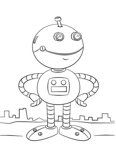 371x480 cute cartoon robot coloring page free printable coloring pages