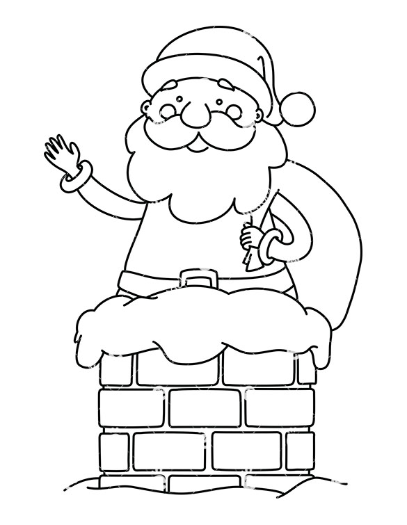 585x755 Cute Santa Claus With Gift Sack Going Down A Chimney Clipart