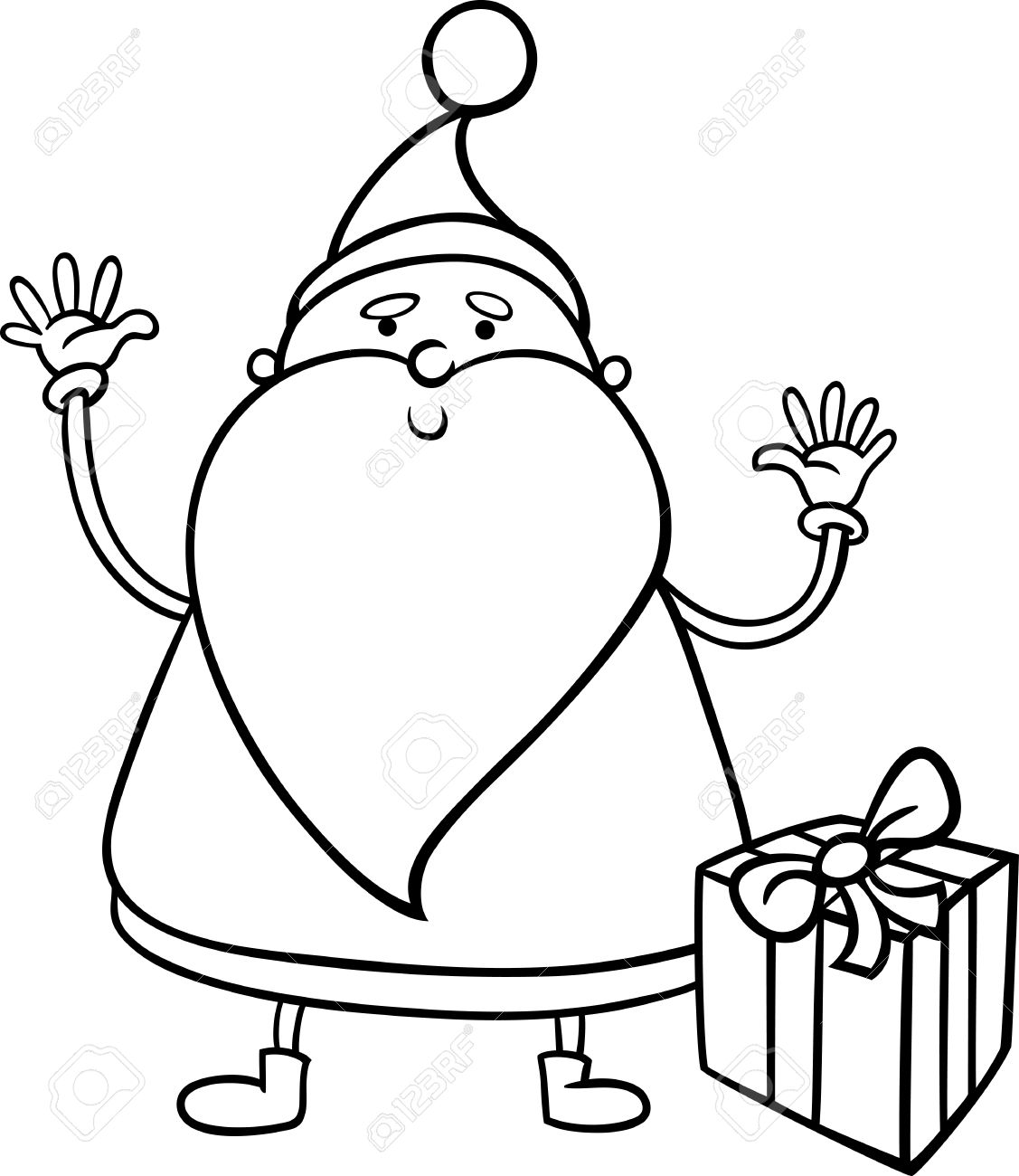 1127x1300 Black And White Cartoon Illustration Of Cute Santa Claus Christmas