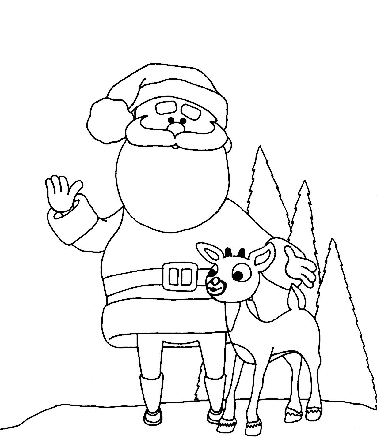 1230x1428 awesome santa and his reindeer coloring pages on rudolph coloring