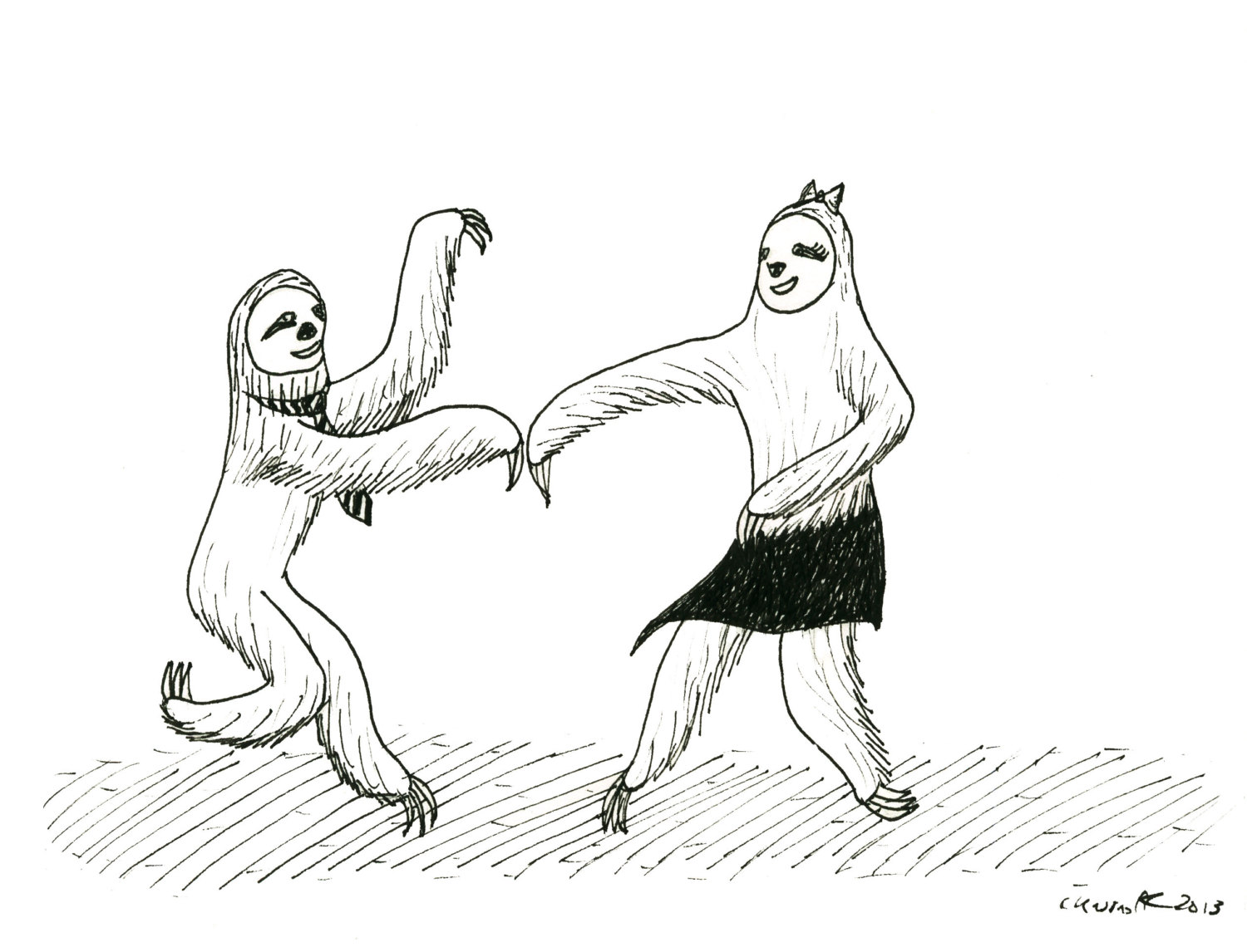 1500x1146 Swing Dancing Sloths Couple Print