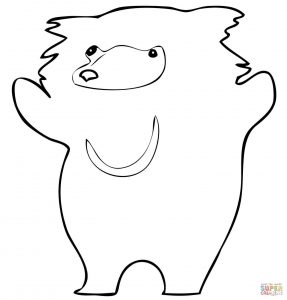 287x300 Cute Sloth Bear For Coloring Page