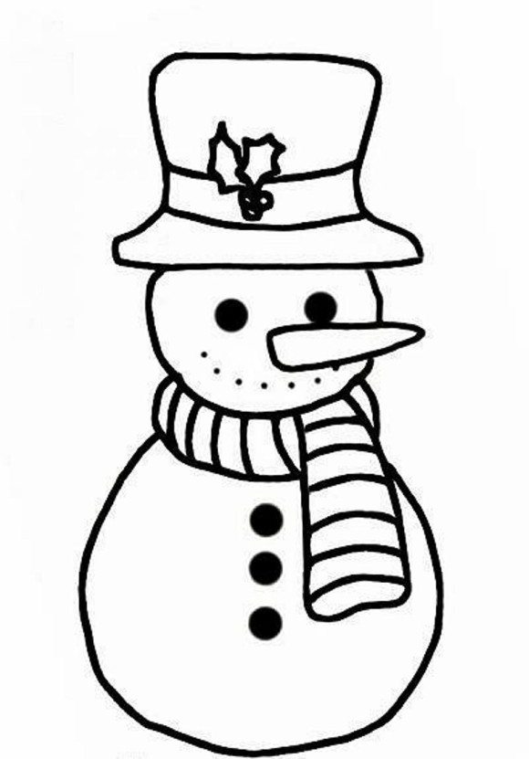 Coloring Pages Print 580x831 Simple Snowman Page