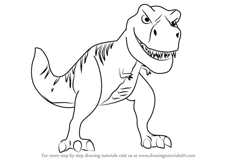 800x567 How To Draw A Cartoon T Rex