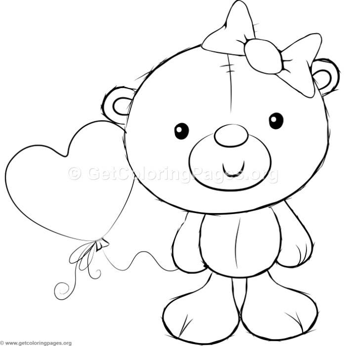 700x700 Cute Teddy Bears 2 Coloring Pages –