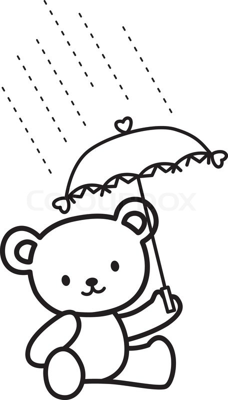 456x800 Illustration of Very Cute Teddy Bear in the rain Stock Vector