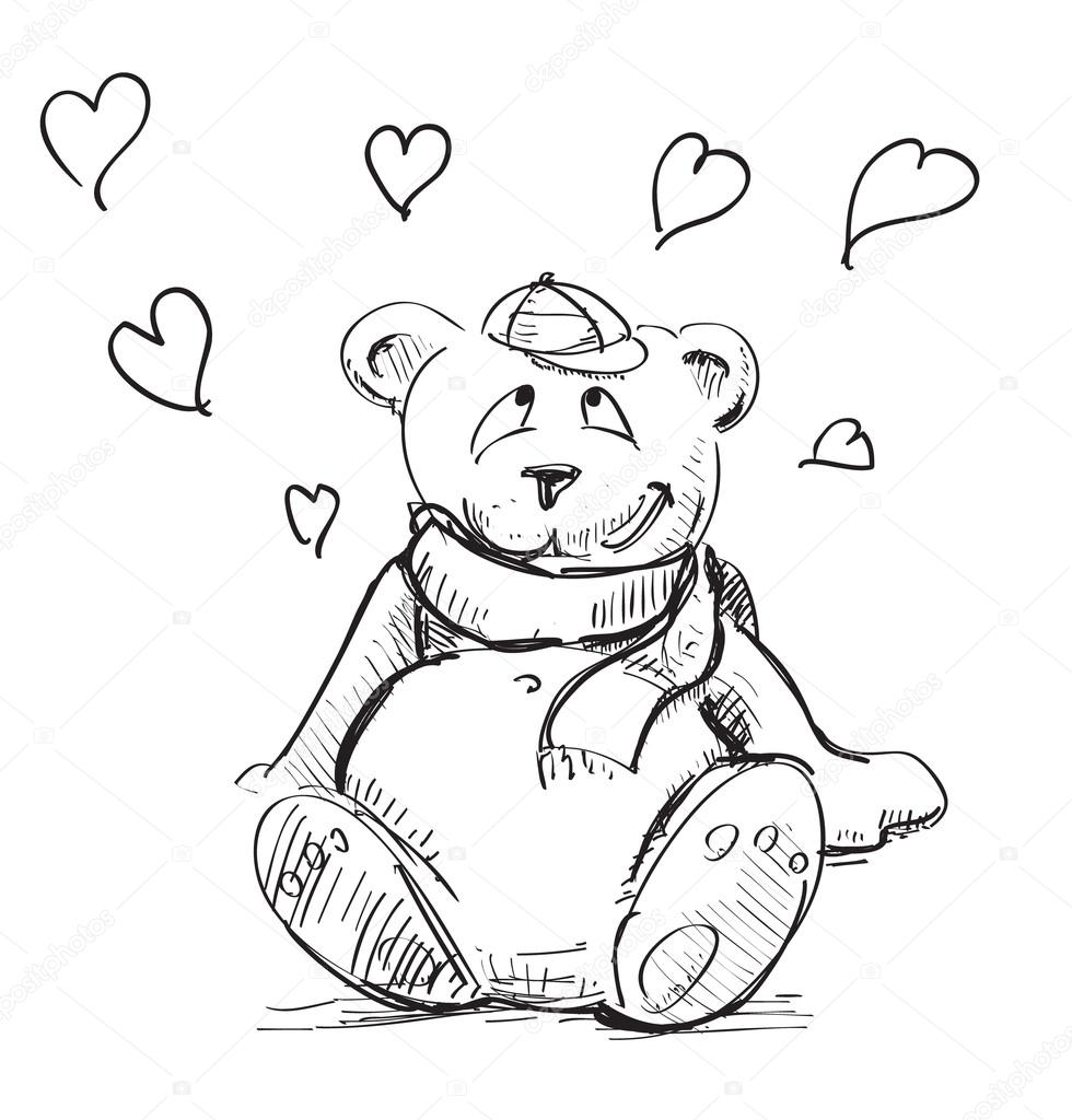 980x1024 In love cute teddy bear sketch vector illustration — Stock Vector