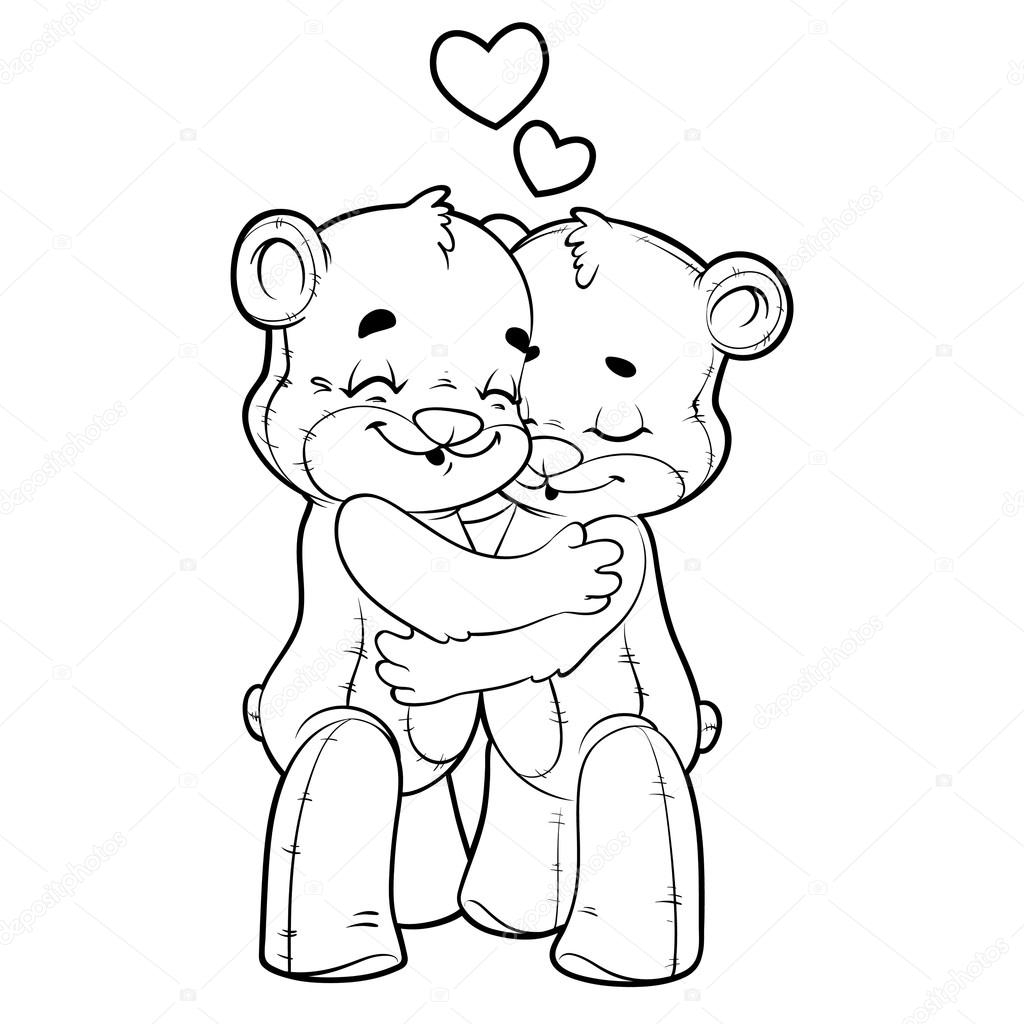 1024x1024 Two Cute Teddy Bears Drawings Two Cute Teddy Bears In Love